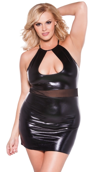 Plus Size Crop Top Dress with Sheer Mesh Waistband, Sexy Pleather Halter Dress, Wet Look Halter Mini Dress