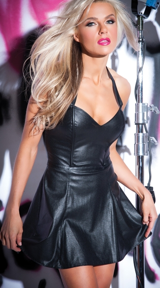 Black Leather Flounce Hem Mini Dress