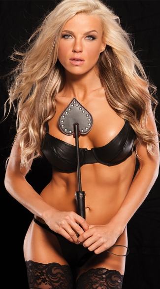 Black Leather Spade Crop