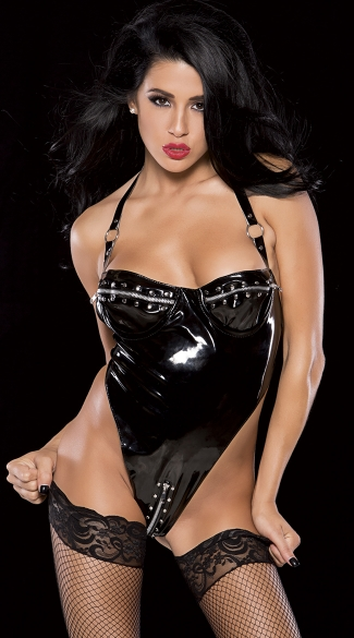 Zipper Bust and Crotch Vinyl Teddy