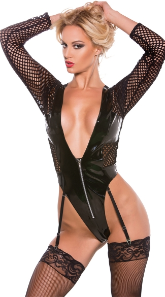 Vinyl Fishnet Teddy