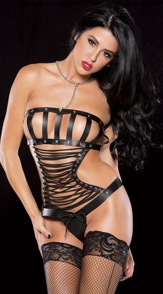 Faux Leather Lace-Up and Chain Collar Bustier