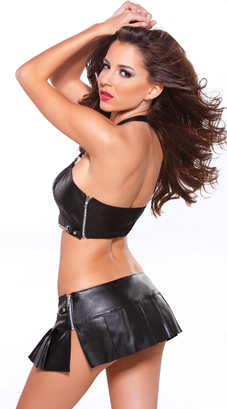 Faux Leather Bustier with Chain