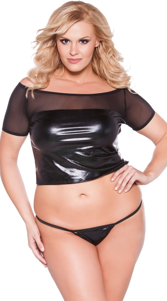 Plus Size Wet Look and Mesh Crop Top