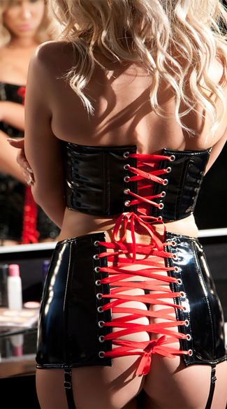 Black and Red Cropped Lace-Up Vinyl Bustier