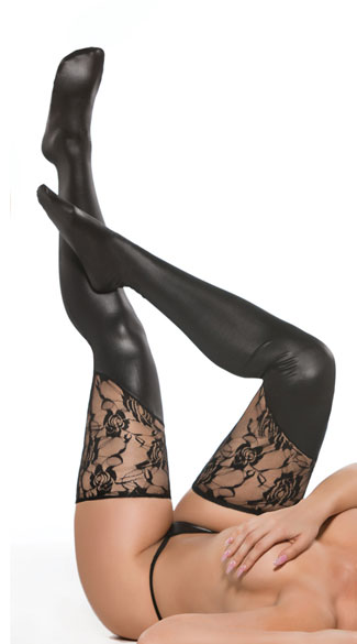 Asymmetrical Wet Look and Lace Thigh Highs, Lace Top Thigh Highs, Vinyl and Lace Thigh Highs
