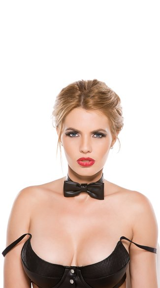 Faux Leather Bowtie, Bowtie Collar, Faux Leather Collar