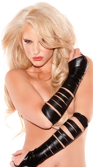 Slashed Fingerless Gloves, Black Vinyl Gloves, Black Leather Gloves