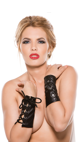 Faux Leather Lace-Up Wrist Cuffs