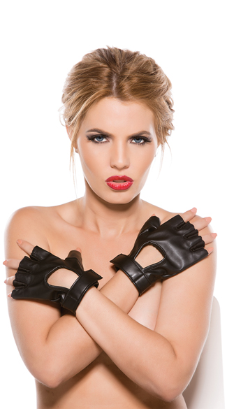 Faux Leather Fingerless Gloves, Faux Leather Gloves, Fingerless Gloves