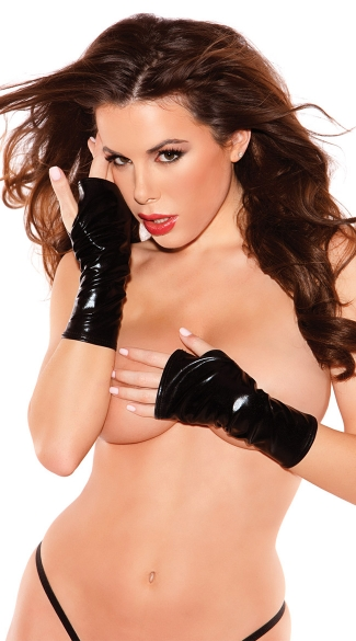 Short Fingerless Gloves, Black Vinyl Gloves, Black Leather Gloves
