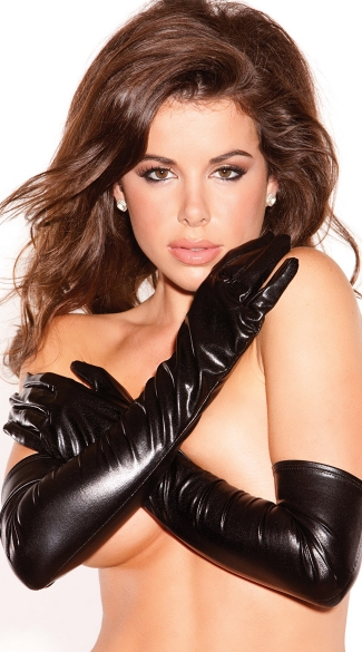 Opera Length Vinyl Gloves, Black Vinyl Gloves, Black Leather Gloves
