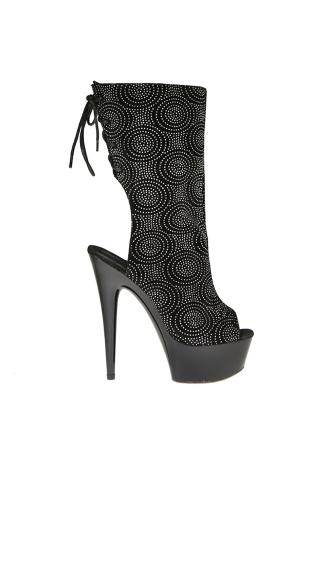 Cut Out Lace Up Booties with Rhinestone Print, Lace Up Bootie High Heel, High Heel Bootie Sandal with Cut Outs