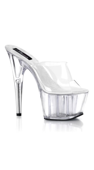 "Mile High Clear Stiletto Slide, Clear Bottom 7"" Stiletto Platform Heel, Sexy Platform Heel"