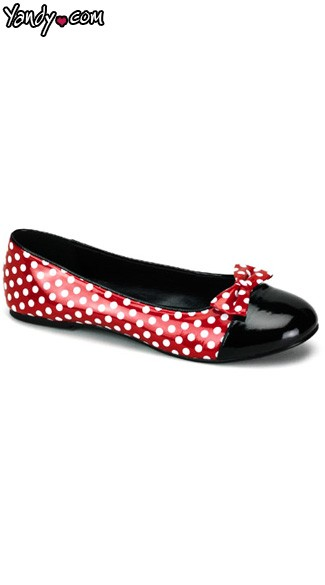 Adult Mouse Flats Shoes, Minnie Mouse Costume Shoes