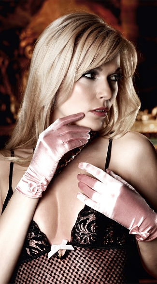 Pink Satin Wrist Gloves with Bows