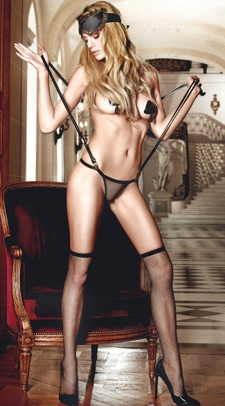 Sheer G-String with Suspenders and Eyemask, Sexy Lingerie Accessories, Suspender G-String