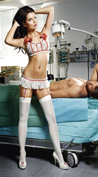 Plus Sizse Emergency Room Lace Nurse Lingerie Set