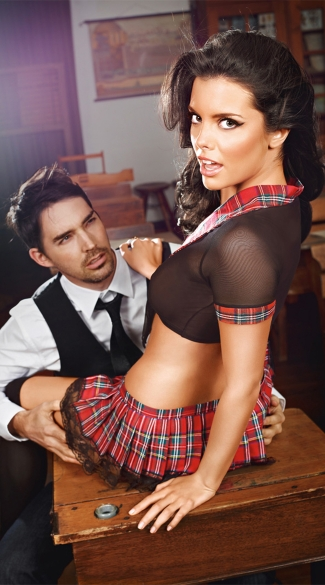 Plus Size Sexy Black Top And Red Plaid Skirt Schoolgirl Set