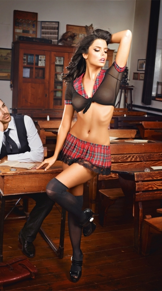 Sexy Black Top and Red Plaid Skirt Schoolgirl Set, Sexy Schoolgirl Costume