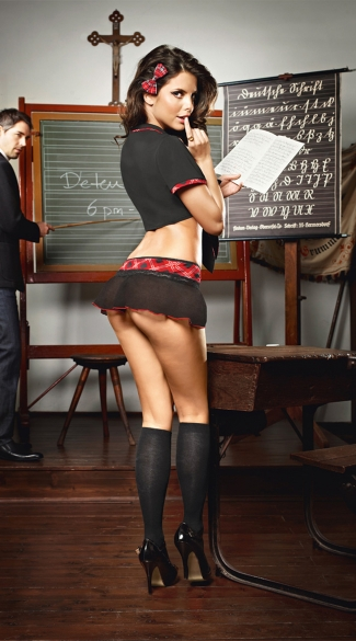 Black and Plaid Sexy Schoolgirl Outfit