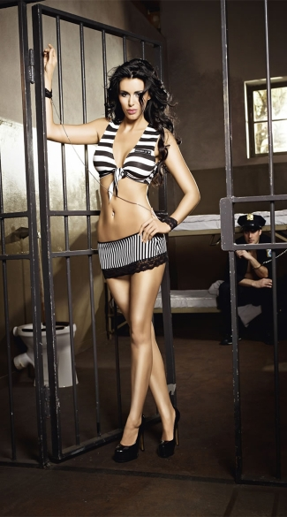 Hot Prisoner Top and Mini Skirt Set, Sexy Prisoner Costume, Sexy Inmate Costume