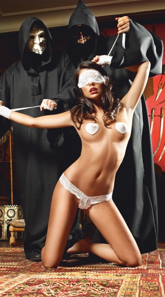 Eyemask, Panty, Pasties and Lace Cuff Set