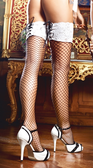 White Lace Top Fishnet Thigh Highs