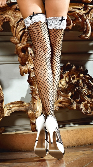 White Lace Top Fishnet Stockings