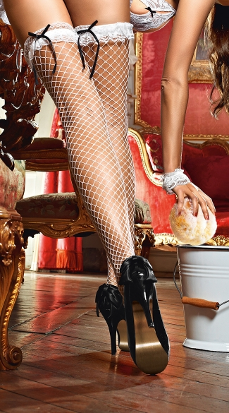 White Fishnet Stockings with Lace Tops, White Fishnet Thigh Highs