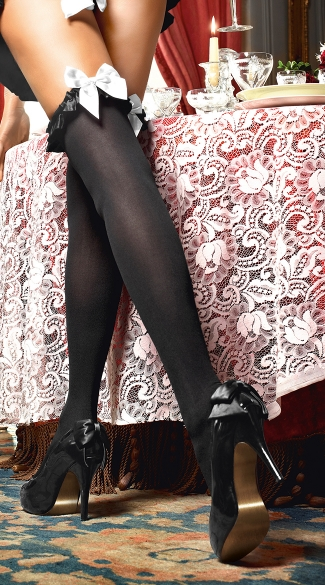 Black Opaque Thigh Highs With Black Ruffle, Black Stockings with White Bows