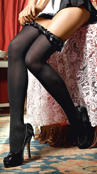 Black Opaque Thigh Highs With Bows