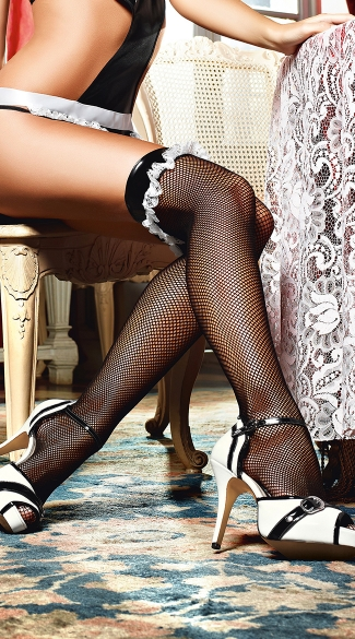 Vinyl Top Fishnet Thigh Highs