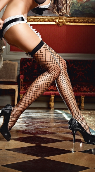 Black Fence Net Thigh Highs with Double Bows
