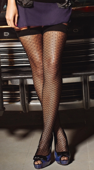 Black Patterned Net Stockings