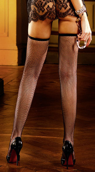 Black Mesh Thigh High Stockings