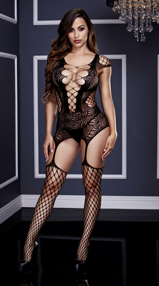 Fishnet and Corset Front Suspender Bodystocking, Fishnet Bodystocking, Suspender Bodystocking