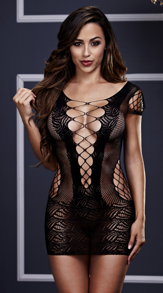 Corset Front Fishnet Mini Dress, Fishnet Chemise, Black Fishnet Chemise