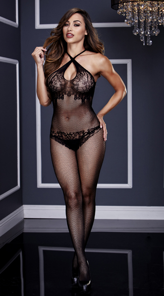 Criss-Cross Fishnet and Lace Silhouette Bodystocking, Crotchless Fishnet Bodystocking, Fishnet and Lace Bodystocking