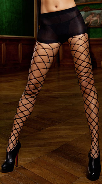 Control Top Diamond Net Pantyhose, Black Diamond Net Pantyhose, Control Top Pantyhose