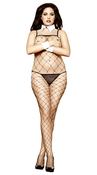 Plus Size Black Fence Net Bodystocking