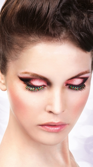 Black, Red and White Rhinestone Eyelashes, Black, Red and White False Eyelashes