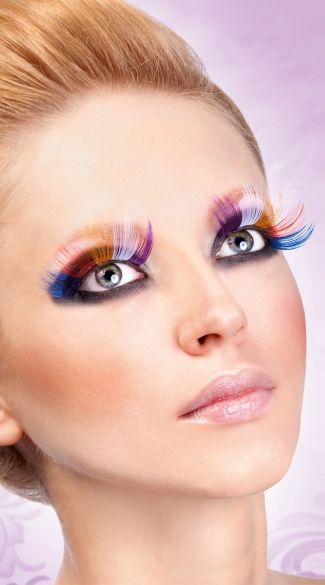 Rainbow Glitter Eyelashes, Multi Colored Glitter False Eyelashes, Rainbow Fake Eyelashes