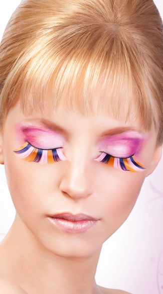 Pink, Blue and Yellow Glitter Eyelashes, Pink, Blue and Yellow False Eyelashes