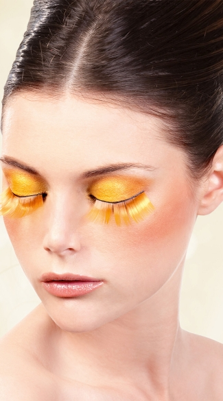 Orange Glitter Eyelashes, Orange False Eyelashes, Orange Fake Eyelashes