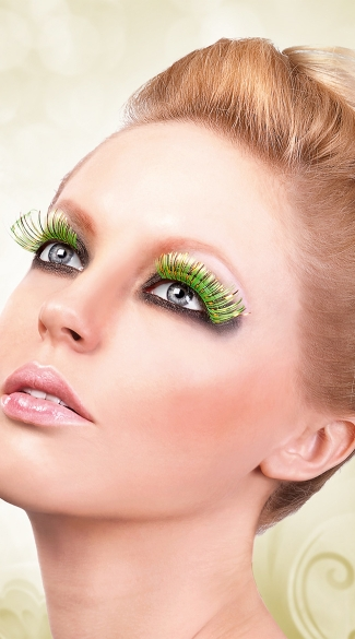 Yellow, Orange and Light Green Feather Eyelashes, Multi Color Fake Eyelashes