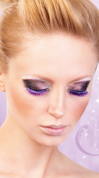 Blue and Purple Deluxe False Eyelashes