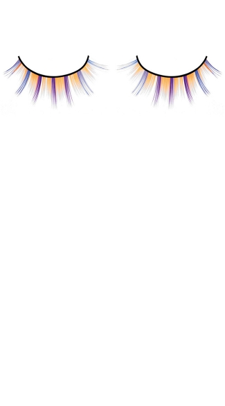 Purple, Yellow, Orange and Blue Deluxe False Eyelashes