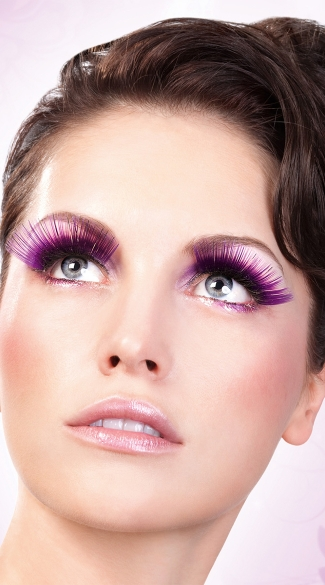 Purple Glitter Eyelashes, Purple False Eyelashes, Purple Fake Eyelashes