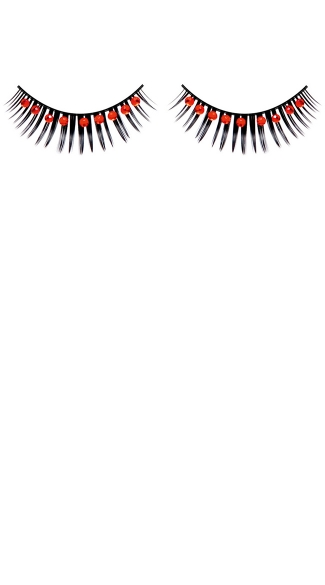 Black and Red Rhinestone Eyelashes